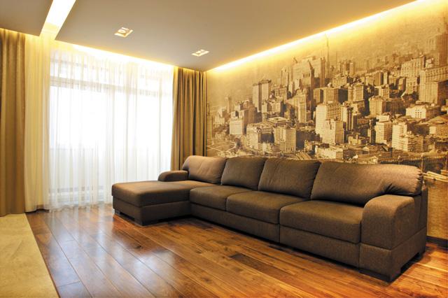 Интерьер для гостиной с фотообоями фото